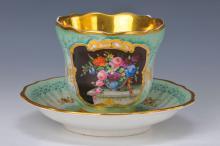 Cup and saucer, Schumann, to 1851-69, flower decor,