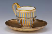 Viennese cup with silver saucer, 1816, porcelain,