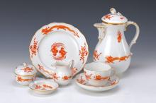 service, Meissen, 20th cent., red dragon decor,