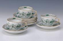 6 coffee cups, Meissen, 2nd half 20th c., Indian green,