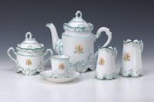 coffe set, Thuringia, in 1890, green Decor,