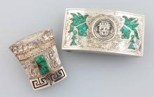 Lot belt buckle and brooch/pendant, Mexico 1960, silver,