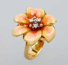 18 kt gold blossom ring with diamonds and enamel