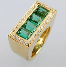 18 kt gold ring with tourmalines and diamonds
