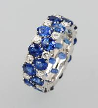 18 kt gold ring with sapphires and brilliants