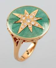 18 kt gold ring with diamonds and enamel by VICTOR MAYER