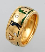 WELLENDORFF 18 kt gold ring with enamel and brilliants