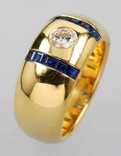 18 kt gold ring with brilliant and sapphires