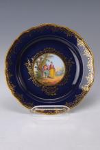 Ceremonial plate, Meissen, to 1880, Watteau scene