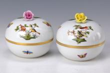 Two lidded boxes, Herend, 1965/70