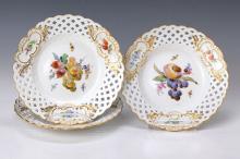 Three plates, Meissen, in 1880, fruit decor