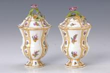 Pair of lidded vases, Meissen, 1740