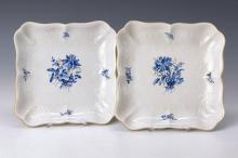 2 square decorative plates, Meissen, after 1965