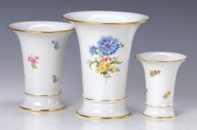 Three vases, Meissen, 2nd half 20th C.