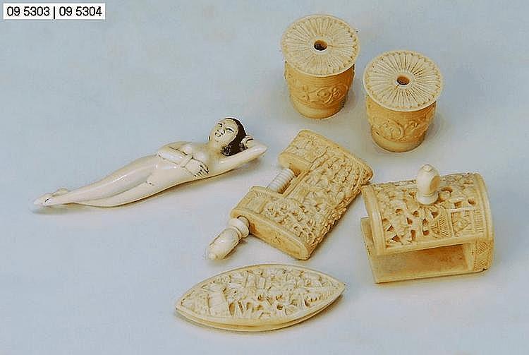 5 Teile Nähutensilien, China, um 1920, Elfenbein