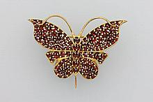 Brooch 'butterfly', with garnets