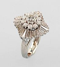 Platinum blossom ring with diamonds