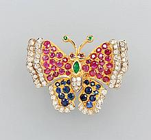 14 kt gold brooch 'butterfly' with coloured stones and brilliants