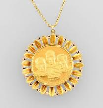 Goldmedal with chain, approx. 21.15 g