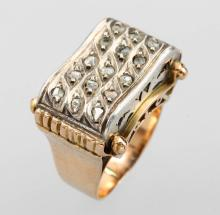 14 kt gold / silver ring with diamonds, approx. 1938