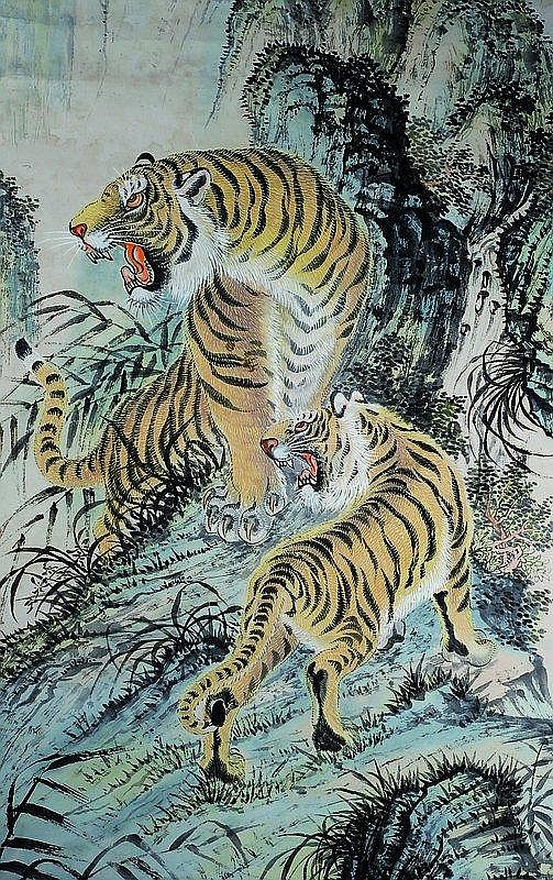 Rollbild, China, um 1900, Tiger in den Bergen,
