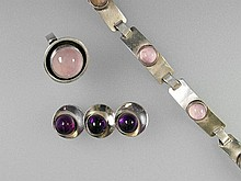 Lot with rose quartz and amethyst, silver,