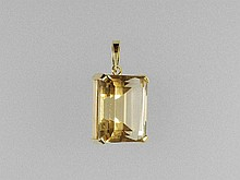 Pendant with citrine, YG 750/000, rectangular