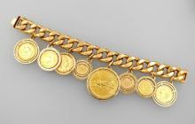 18 kt gold bracelet with 8 coins