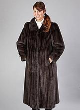 Saga mink coat, size approx. 42, black, length.