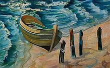 Erich Rockenbach, 1911-1984, boat on the beach, oil/paper