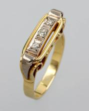 14 kt gold art deco ring with diamonds