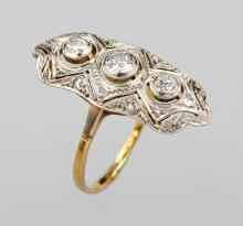 14 kt gold and platinum art deco ring with diamonds, USA 1940s