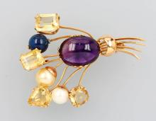18 kt gold brooch with coloured stones and pearls, Germany approx. 1950s
