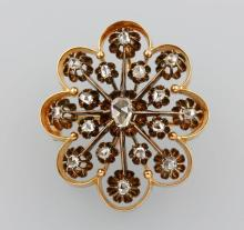 14 kt gold brooch with diamonds, Germany 1880s