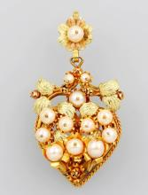 8 kt gold brooch/pendant with pearl, Germany approx. 1850s
