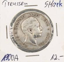 Silver coin, 5 Mark, Germany, 1900