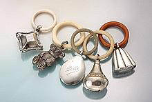 Lot 5 child rattles, Germany approx. 1920-70