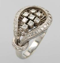 Platinum ring with brilliants, approx. 1960/70