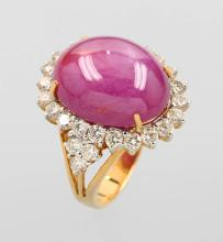 18 kt gold ring with star ruby and brilliants