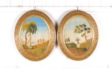 pair of embroidery pictures, german