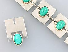Art-Deco set of jewelry with amazonites