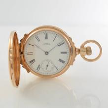 WALTHAM lavish 14k pink gold hunting cased pocket watch