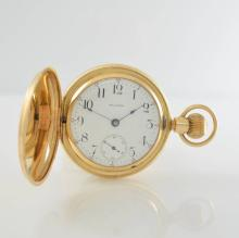 WALTHAM heavy 14k yellow gold hunting cased pocket watch