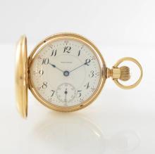 WALTHAM/P.S. BARTLETT heavy 14k pink gold pocket watch