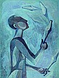 Wenig, Jan, born in 1910, Juggler, oil / masonite,