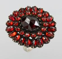 Silver ring with garnets, approx. 1880/90s