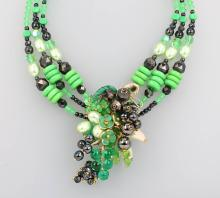 3-row glass necklace, France approx. 1940/50s