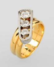 Ring with brilliants, YG 900/000 and WG 750/000