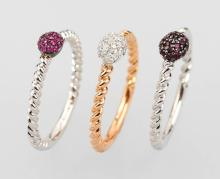 Ring-Trio with coloured stones and brilliants,YG/WG 750/000