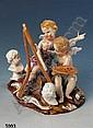Grosse Porzellangruppe, Meissen, um 1880/90, zwei Putti an der Staffelei, ein Putto beim